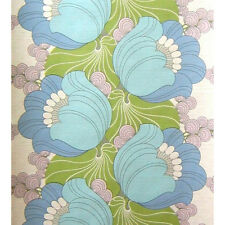 Groovin To the Blues Vintage Flowers Wallpaper Retro Orignal Floral 1960s 1970s