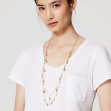 Ann Taylor LOFT Gold Dot bead Teardrop two Layer Necklace NWT 34.50