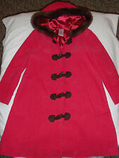 Gymboree Tyrolean Lure pink corduroy long hooded toggle coat jacket faux fur 5