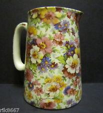Heron Cross Pottery Summer Meadow (pink B/G) Chintz English 1/2 Pint Milk Jug