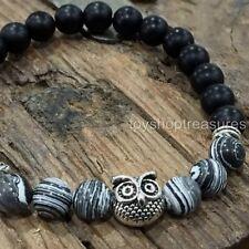 Gemtone Oynx Agate Black Owl Bracelet Healing Gemstone