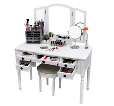 Vanity Set For Girls Teen With Mirror Mirrored Desk Makeup Table Stool Seat Bed