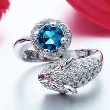Blue Sapphire & White Zircon Animal Shape Women Men Open 925 Silver Rings