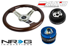 """NRG 330mm Brown Wood CH S Steering Wheel 1.5"""" DP 170H Hub 2.0 BL Quick Release a"""