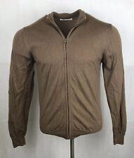 Burlington Zip Jumper Medium Mens Brown Zip Cardigan Wool Long Sleeved