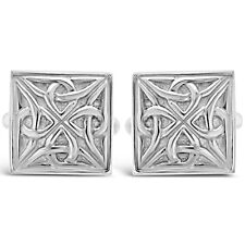 In Argento Sterling, Celtico Gemelli Quadrati con confezione regalo