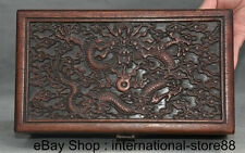 """10.4"""" Old Chinese Huanghuali Wood Carving Dragon Furniture Small Jewelry Box"""