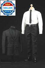 1/6 Scale Black White Business Suit Agent Clothes For Hot Toys Male Figure ❶USA❶