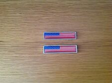 2x USA NATIONAL FLAG METAL BADGE EMBLEMS - DODGE - JEEP - FORD - CHEVY - BUICK