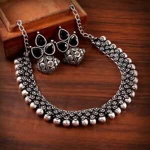 Oxidized Silver Plated Necklace with Statement Studs Earrings Jewelry set women