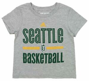 Adidas WNBA Toddlers Seattle Storm Short Sleeve Practice Graphic Tee, Gray