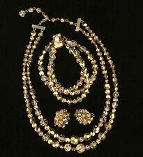 Vintage Necklace Bracelet Clip On Earring Set Gold Metallic 2 Tone Faceted Glass