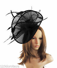 Black Fascinator  Hat for Weddings, Ascot ,Proms With Headband A5