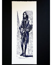 Original linoleum block print BEATLES GEORGE HARRISON W/ GRETSCH GUITAR