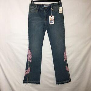 New Bisou Bisou Romantic Remix Pink Lace Flare Leg Jeans size 8
