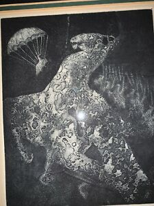 """Holley Coulter Chirot rare Etching Signed """"the Hamalorse"""""""