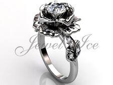 White Gold Forever One Moissanite Flower Engagement Ring Ermz-1032-1