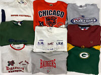 Wholesale Lot of 9 Vintage Sweatshirt Men's XL Sz Cotton Graphic Logo Sports 90s