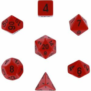 Dice and Gaming Accessories Polyhedral RPG Sets Opaque: Red/Black (7)