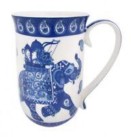 Fine Bone China Blue&White Elephant 405cc Tea Coffee Mug Birthday Xmas Gift