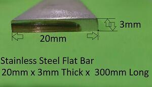 Stainless Steel Flat Bar 20mm x 3mm x 300mm Long 316 S/S Welding Car Boat Carava