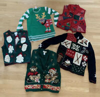 Christmas Holiday Ugly Sweater Lot Of 5 Size Small Medium Large Womens