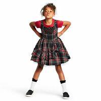 Harajuku Mini Target Girls Dress Plaid Red Green Black Ruffle Kids New