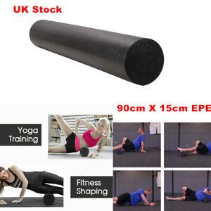 90CM Pilates Foam Roller Long Physio Yoga Fitness GYM Exercise Training Black UK