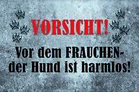Vorsicht vor Frauchen Hund Blechschild Schild gewölbt Tin Sign 20 x 30 cm CC0628