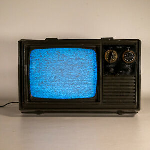"Vintage 1980s Sears Black And White 9"" Portable Tube TV Television Retro Gaming"
