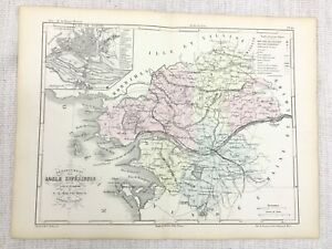 1853 Antique French Map Nantes Brittany Loire France Hand Coloured Engraving