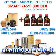KIT TAGLIANDO SMART 451 FORTWO 0.8 CDI 800 4 FILTRI + OLIO MOTUL 8100 5W40 NUOVO