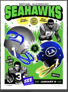 Seattle Seahawks GameDay Poster Los Angeles Rams Playoff Limited Edition