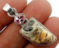 6g Natural Silver Leaf Jasper 925 Sterling Silver Pendant Jewelry ED2-5