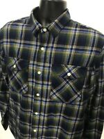 Banana Republic Standard Fit Flannel Shirt Mens Size L Large Green Blue Plaid