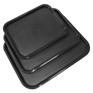 Black Plastic Serving Tray Canteen Cafe Fast Food TV Dinner Kitchen Breakfast