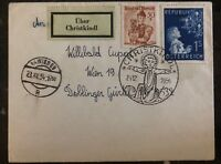 1954 Vienna Austria Christmas Cancel Cover Domestic Used Sc. #597