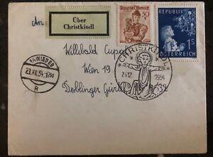 1954 Vienna Austria Christmas Cancel Cover Domestic Used Sc. #597