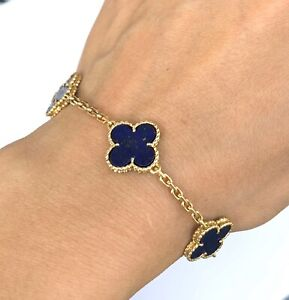 Van Cleef & Arpels 18K YG Alhambra Lapis Lazuli  Bracelet
