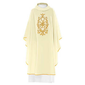 White Embroidered Priest Chasuble Vestment & Stole With PX Alpha & Omega Symbol