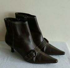 Women's Dorothy Perkins Brown Zip Up Ankle Boots Size 4/37 Upper Leather