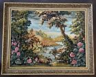 LARGE Antique Tapestry Needle Point Ancient Nature Scenery Beautifully Framed