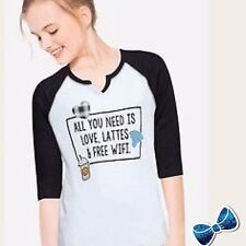 "Justice Girls Size 7 'ALL YOU NEED IS LOVE, LATTES & FREE WIFI"" Graphic Tee"
