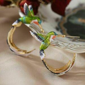 New Trendy Style Unique Alloy Hummingbird Bird Earrings Hook Drop Dangle Jewelry