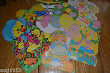 Vintage Eureka Easter Die Cut Cardboard Decorations Some Flocked Lot of 9