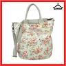 Cath Kidston Oilcloth Beige Floral Shoulder Bag Handbag Grab Bag Shoulder Strap