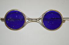 ANTIQUE PUGH COBALT BLUE LENS WELDING GLASSES VINTAGE SAFETY CIVIL WAR ERA