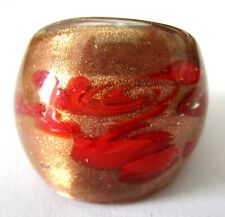 Red & Copper Foil Glass Artisan Ring Size 8