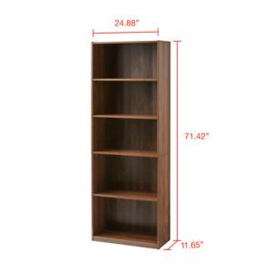 71 Tall Adjustable 5-Shelf Wood Bookcase Storage Shelving Book Wide Bookshelf