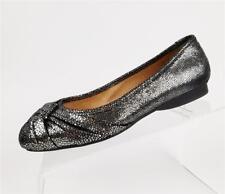NEW Nurture Callista Shoes Ballet Flats Silver Metallic Pewter Black Size 6.5 M